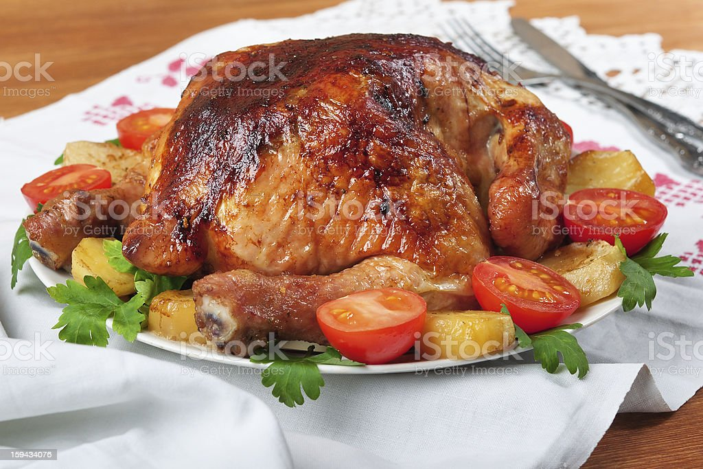 Baked chicken. royalty-free stock photo