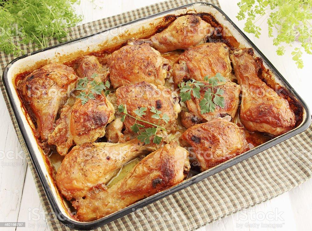 Baked chicken stock photo