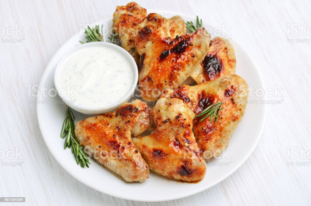 Baked chicken wings stock photo