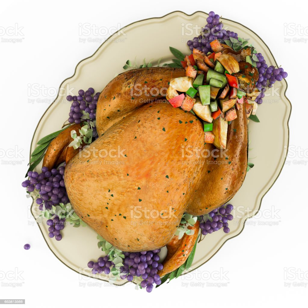 Baked chicken with a golden crust with vegetables stock photo