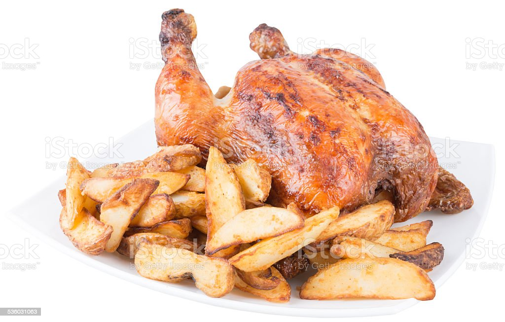 baked chicken with french fries, isolated stock photo