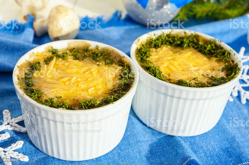 Baked chicken with mushrooms and cheese 'Julien'. stock photo