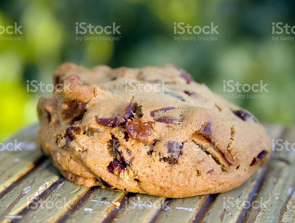 Baked Chocolate Chip Cookie Background & Healthy Dried Fruit & Nuts royalty-free stock photo