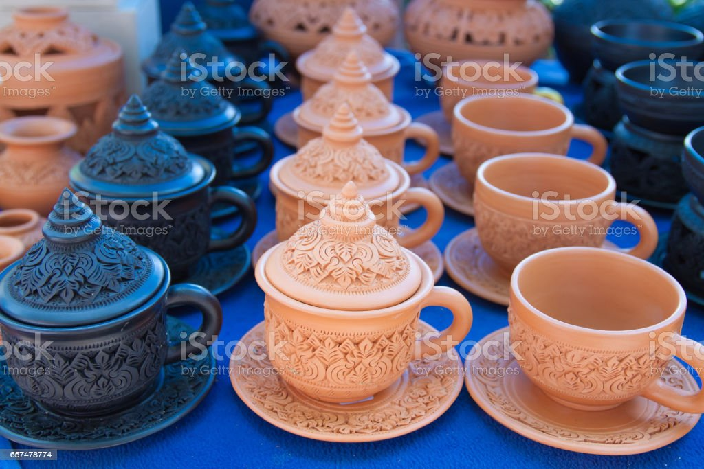 Baked clay coffee cup stock photo