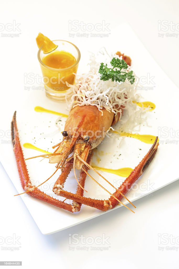 Baked crayfish on dish royalty-free stock photo