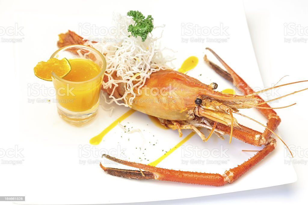 Baked crayfish on dish royalty-free stock photo