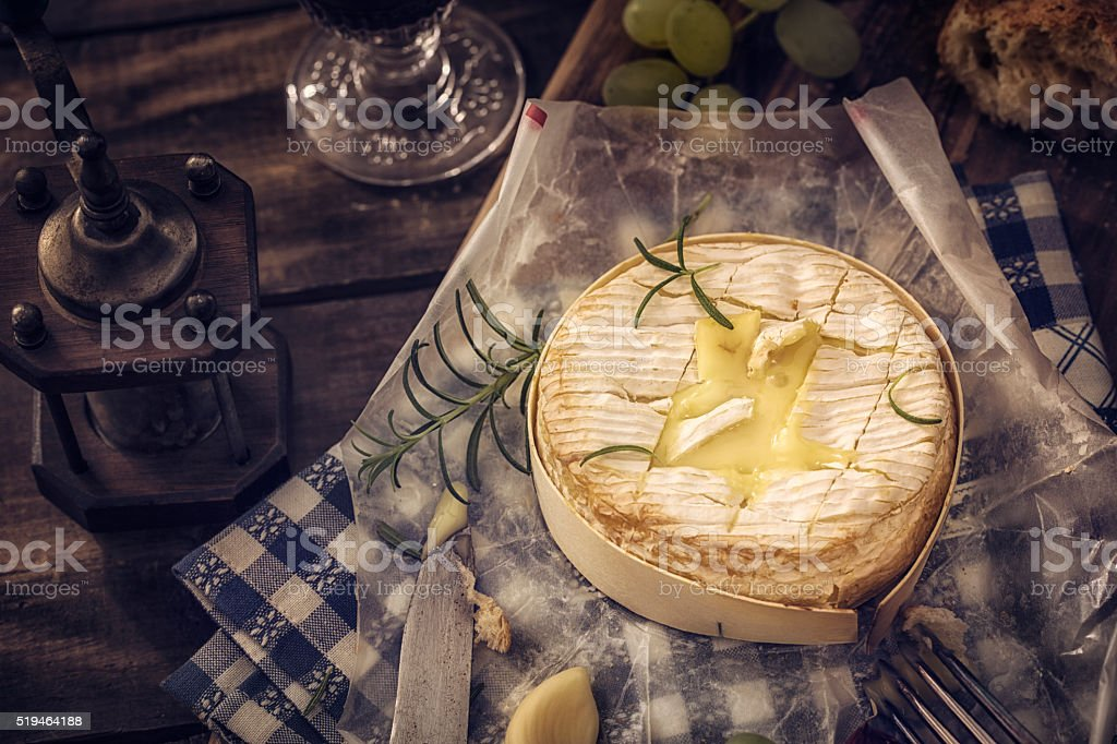 Baked Creamy and Soft Camembert Cheese stock photo