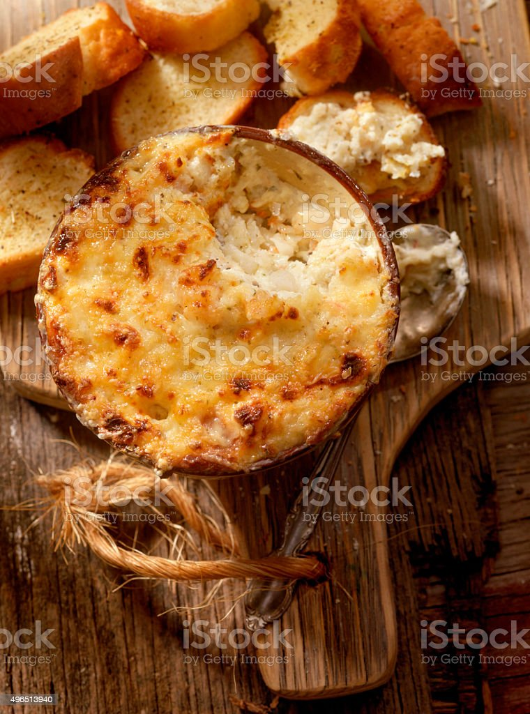Baked Creamy Crab Dip with three Cheeses stock photo