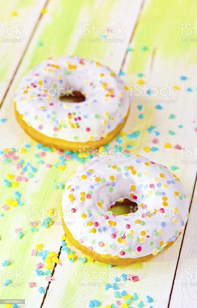 baked donuts on wood royalty-free stock photo