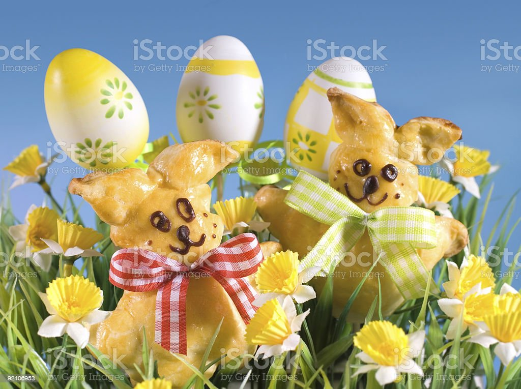 baked easter bunnies royalty-free stock photo