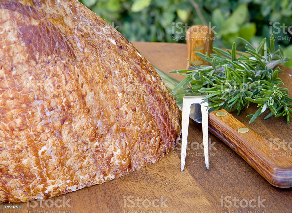 Baked Easter Ham Christmas Holiday Food: Pork Dinner & Carving Set royalty-free stock photo