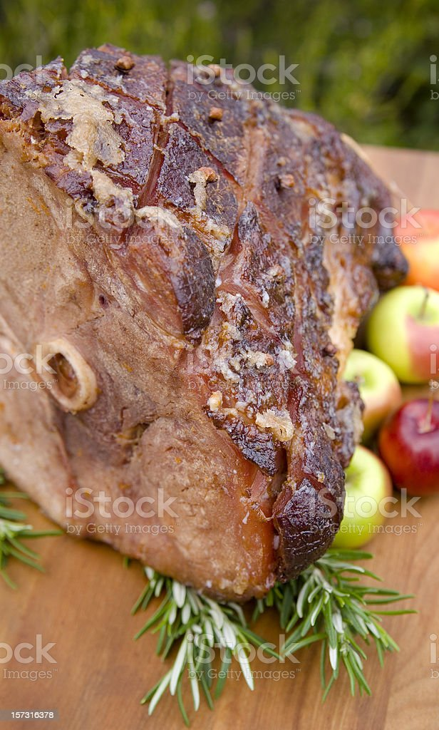 Baked Easter or Christmas Holiday Food, Roasted Pork Ham Dinner stock photo
