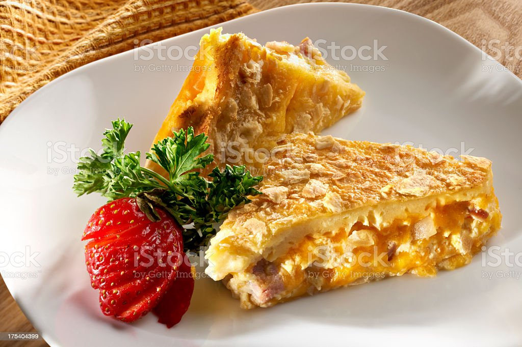 Baked Egg and Ham Casserole stock photo