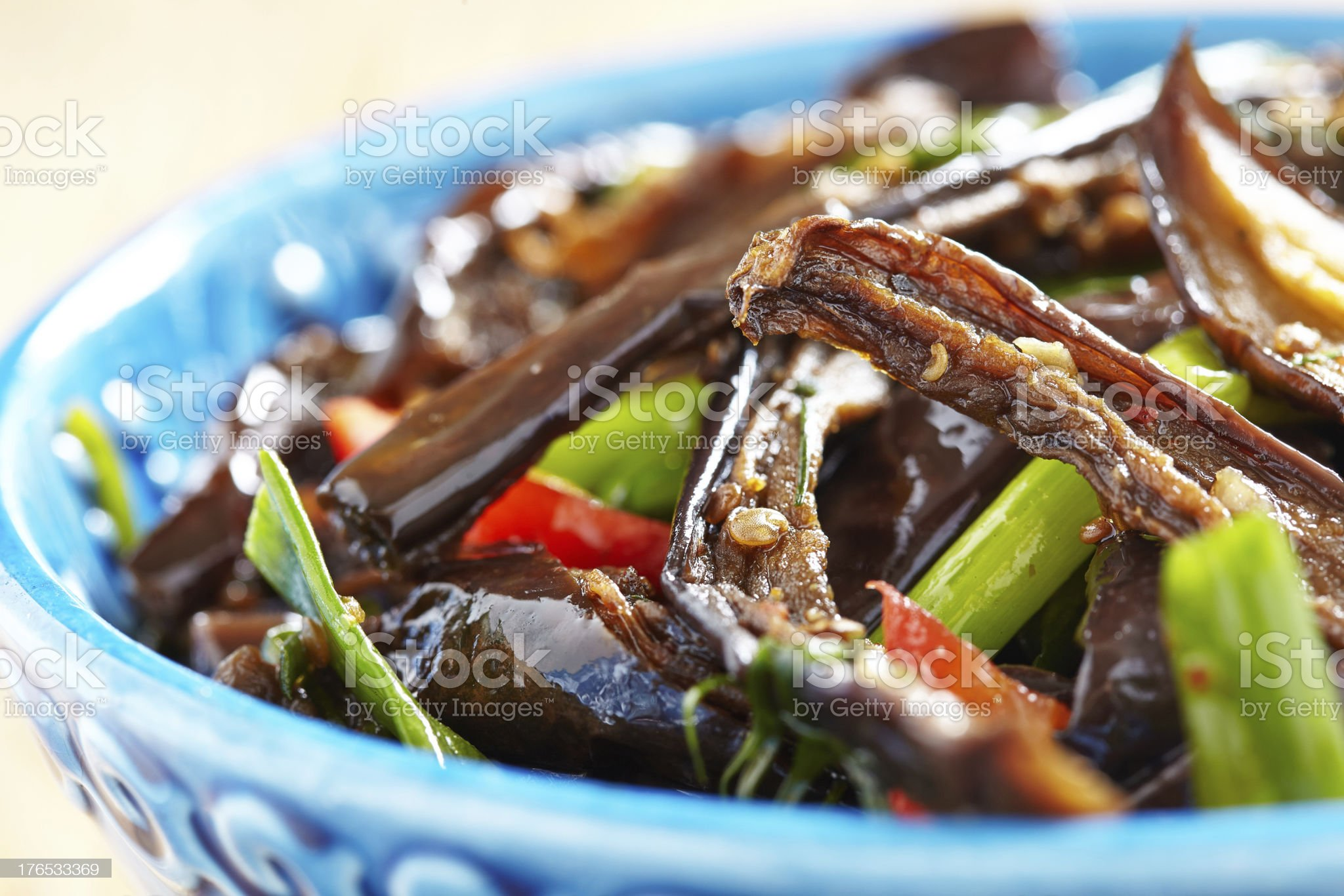 Baked eggplant salad with pepper and green onion royalty-free stock photo
