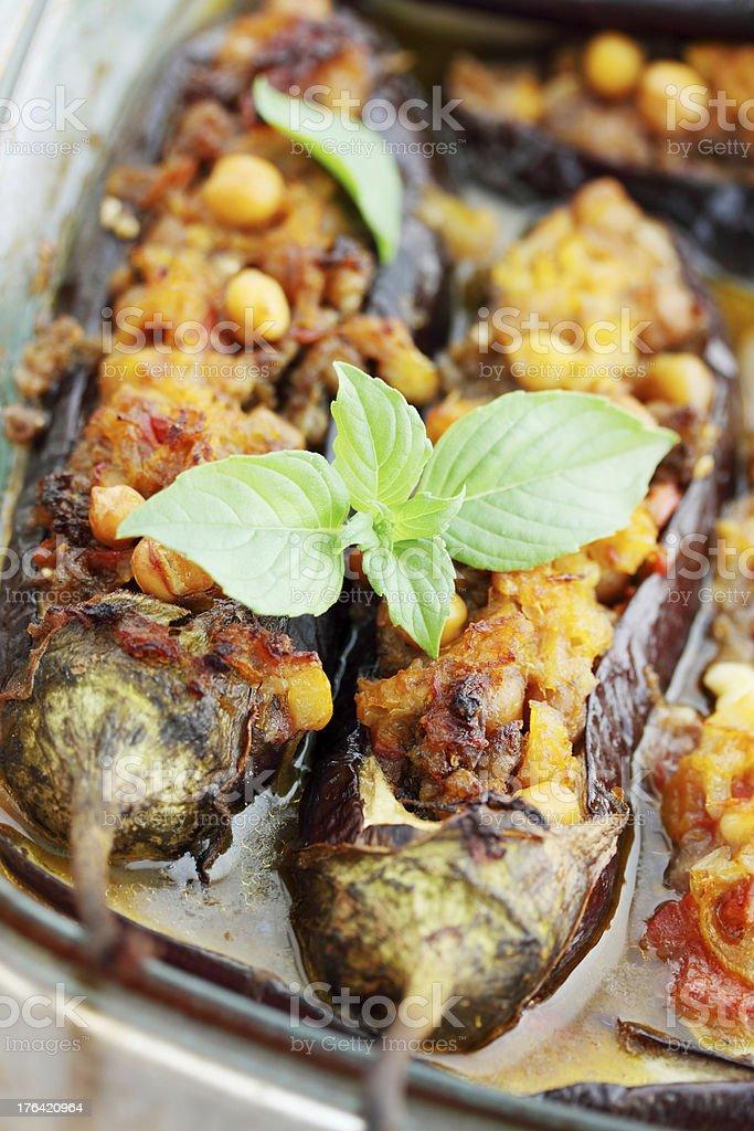 Baked eggplant stuffed royalty-free stock photo