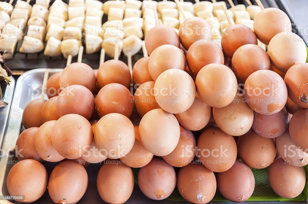 baked eggs flavouring stock photo
