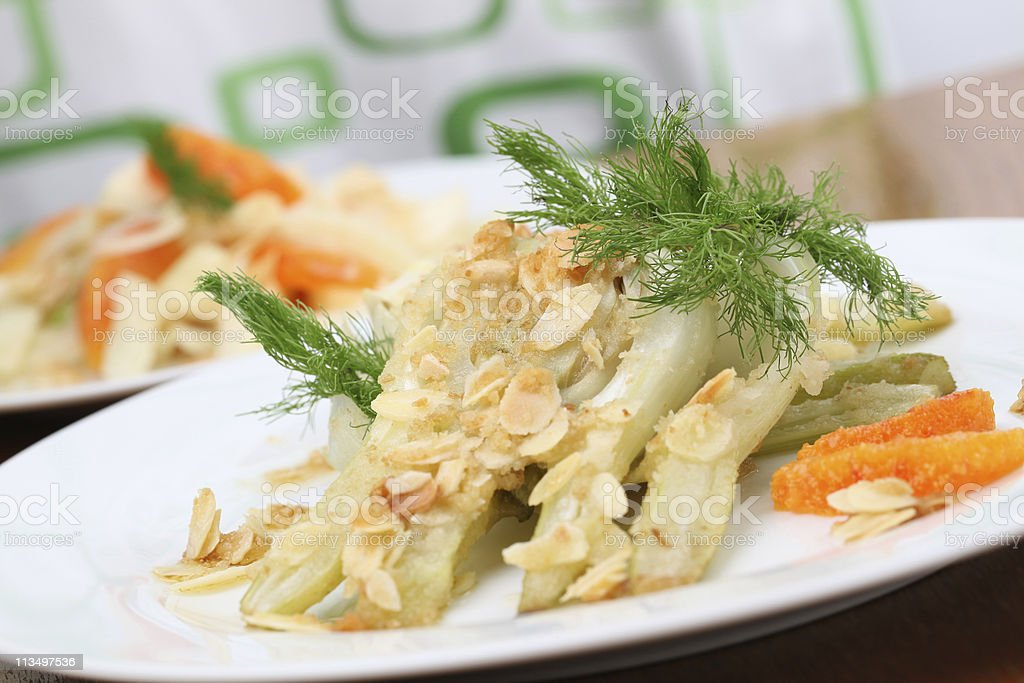 Baked fennel with almonds royalty-free stock photo