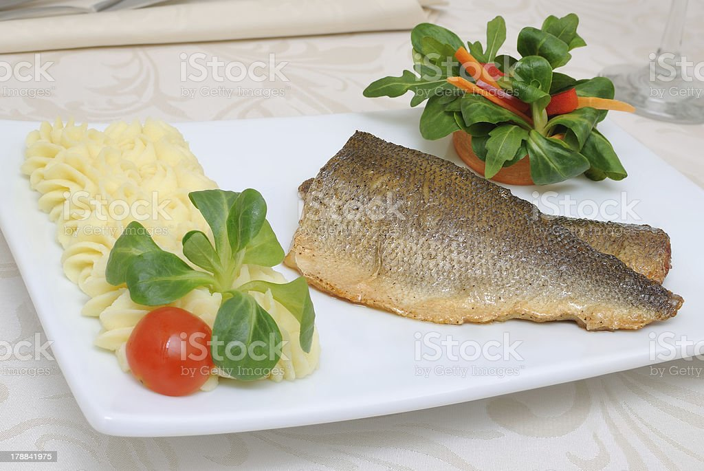 Baked Fillet Of Sea Bass royalty-free stock photo