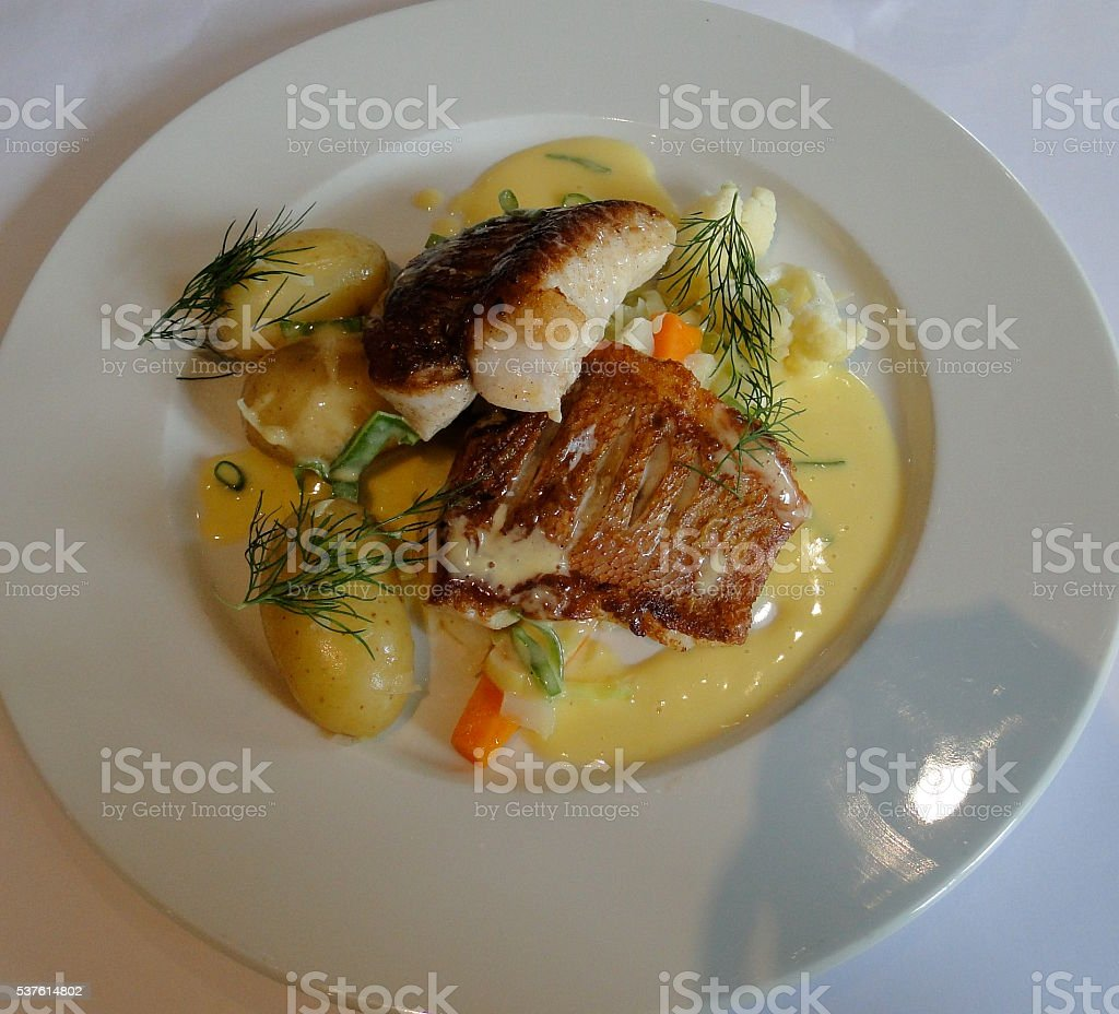 Baked Fish and Vegetables stock photo