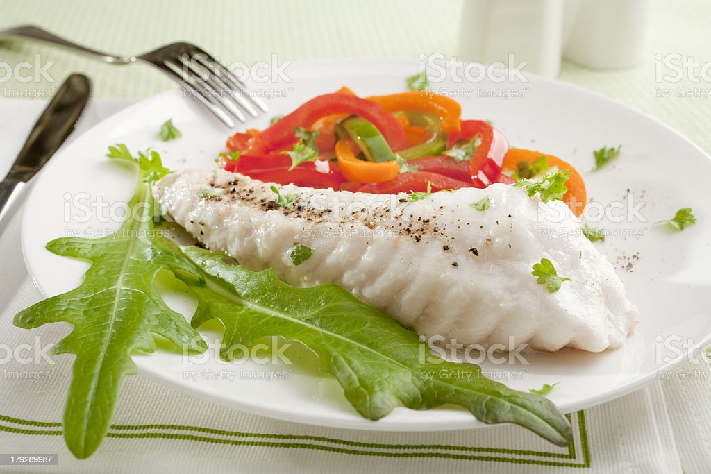 Baked Fish Dinner royalty-free stock photo