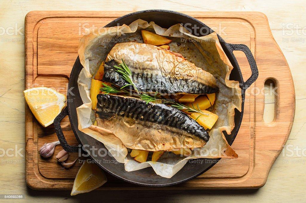 Baked fish mackerel stock photo