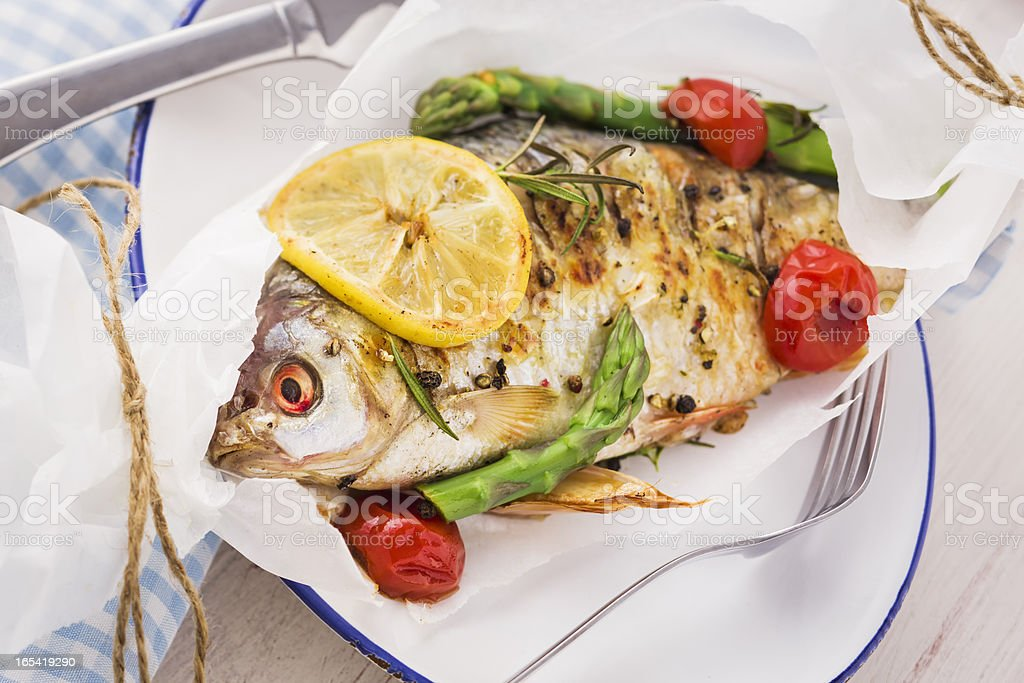 Baked Fish royalty-free stock photo