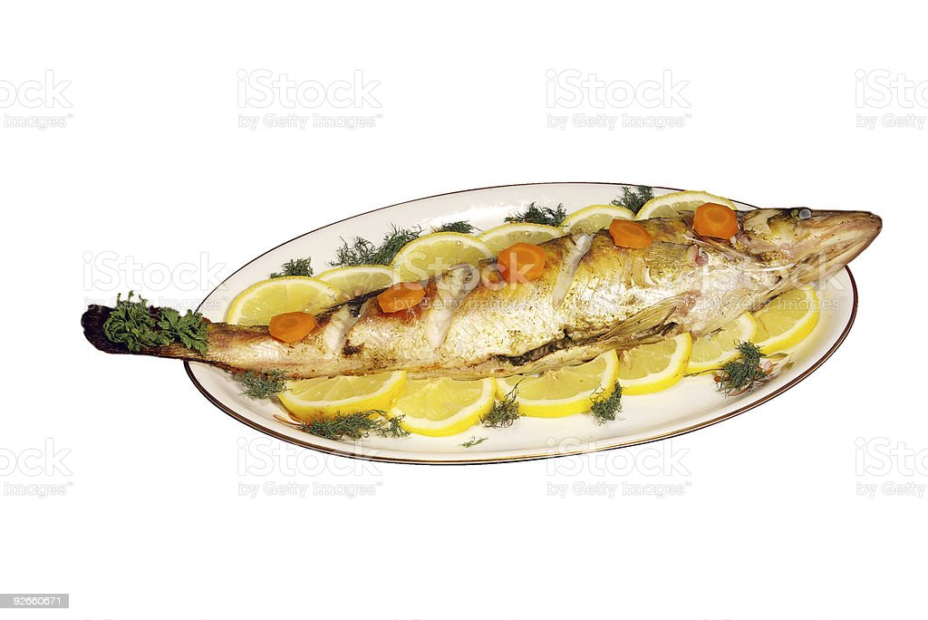 baked fish royalty-free stock photo