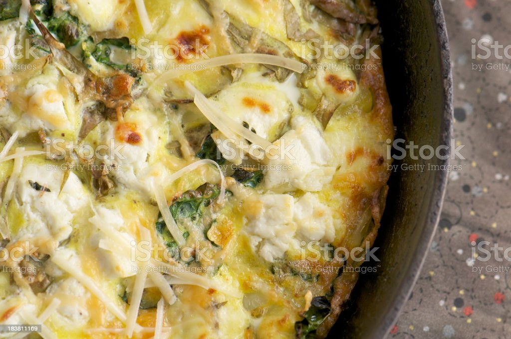 Baked Frittata in Cast Iron Skillet from Above royalty-free stock photo