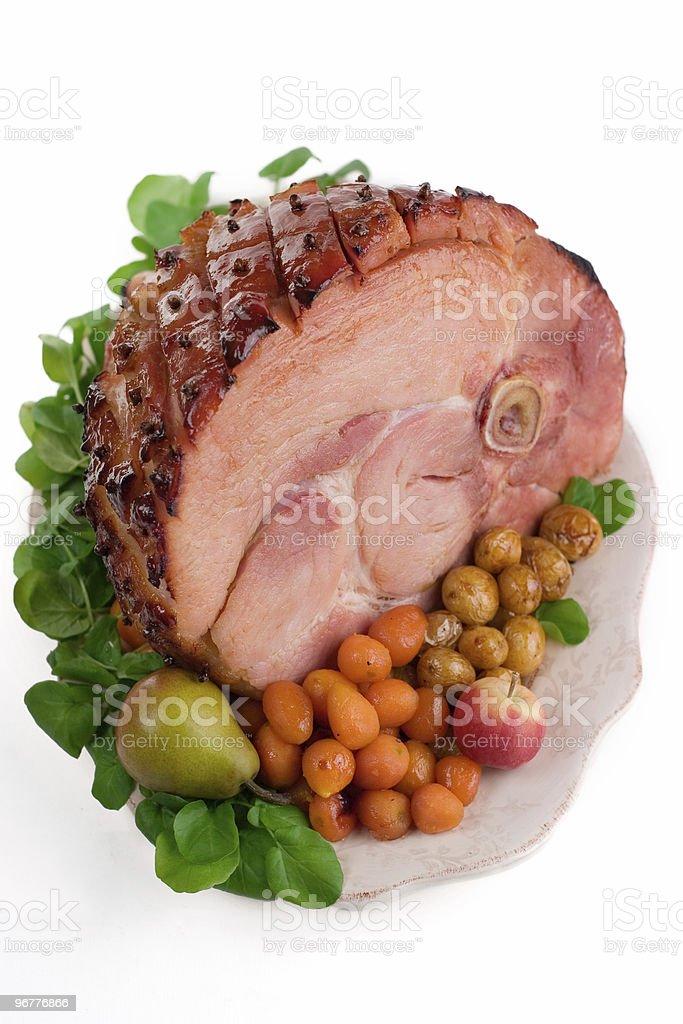 Baked Glazed Ham stock photo