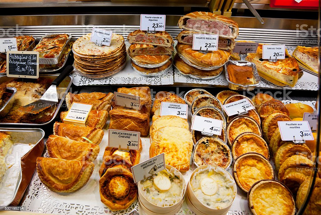 Baked goods at Les Halles Market, Dijon, France stock photo