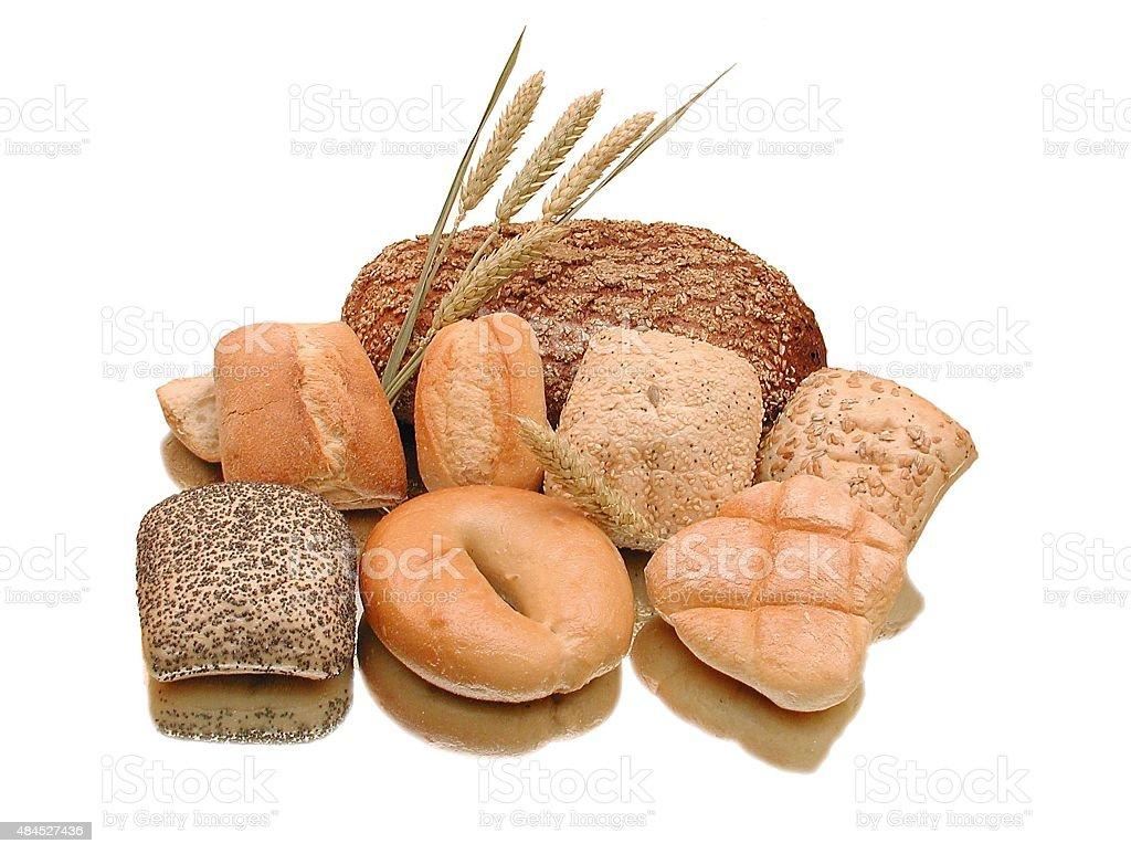 Backwaren - Brot und verschiedene Brötchen stock photo