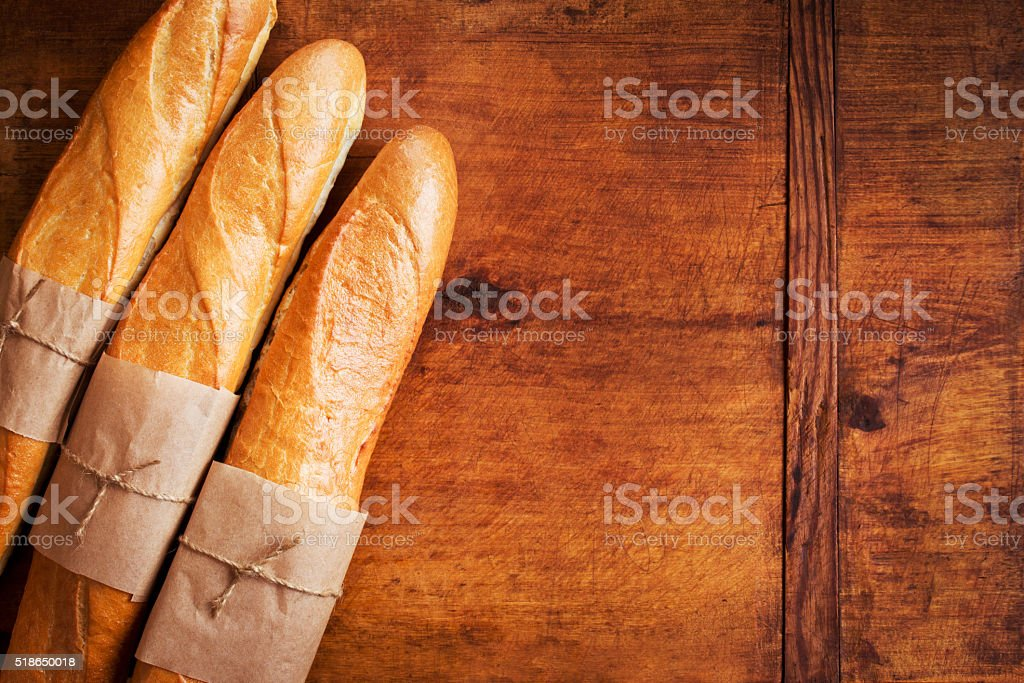 Baked goods on a wooden background stock photo