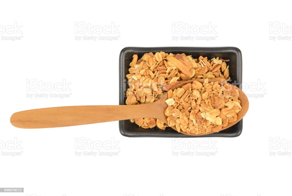 Baked Granola Muesli with wooden spoon stock photo