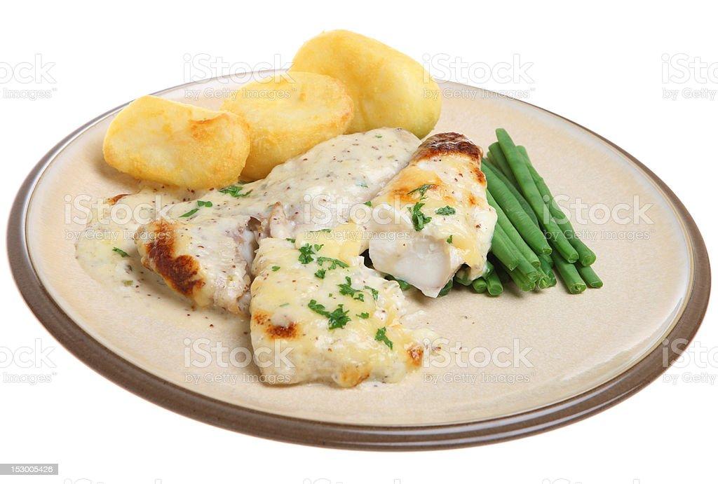 Baked Haddock Fish in Cheese Sauce stock photo