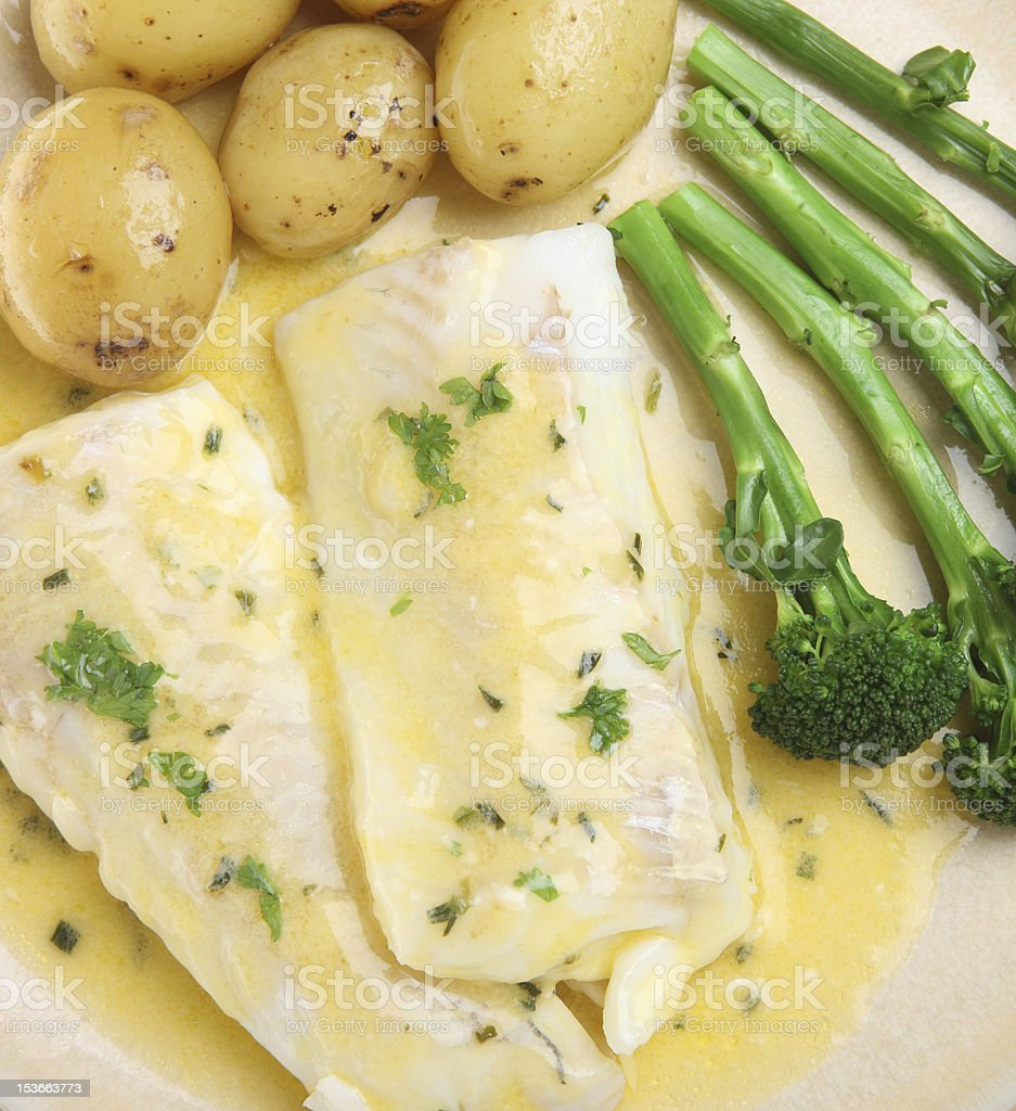 Baked Haddock Fish with Vegetables stock photo