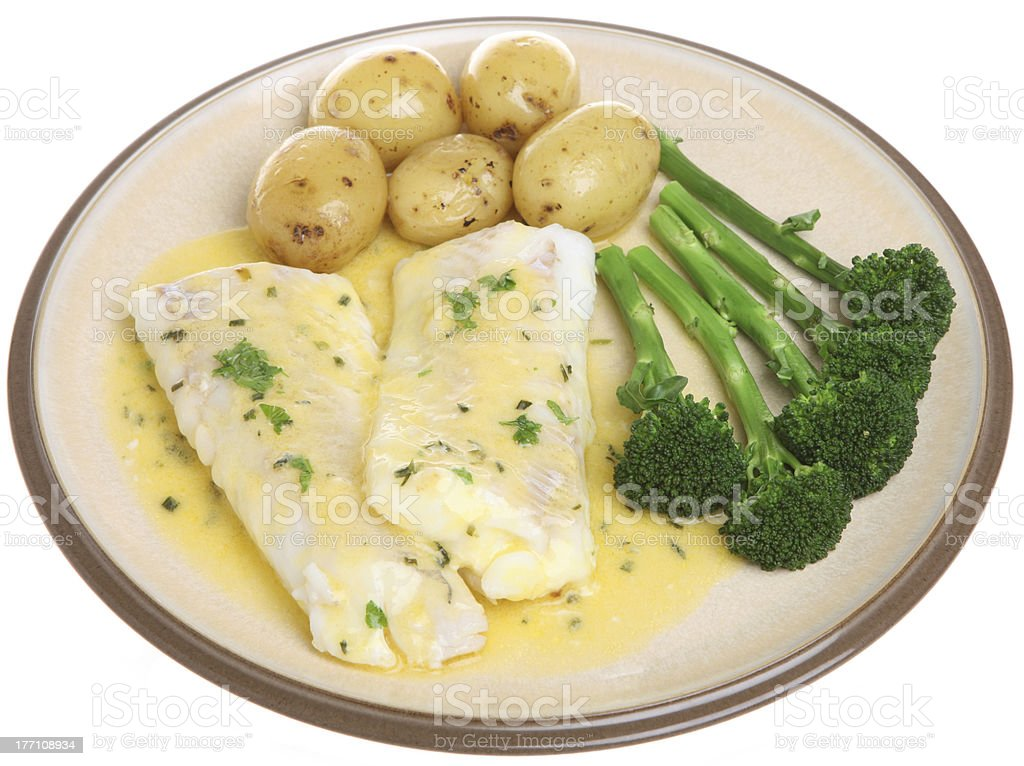 Baked Haddock with Vegetables royalty-free stock photo