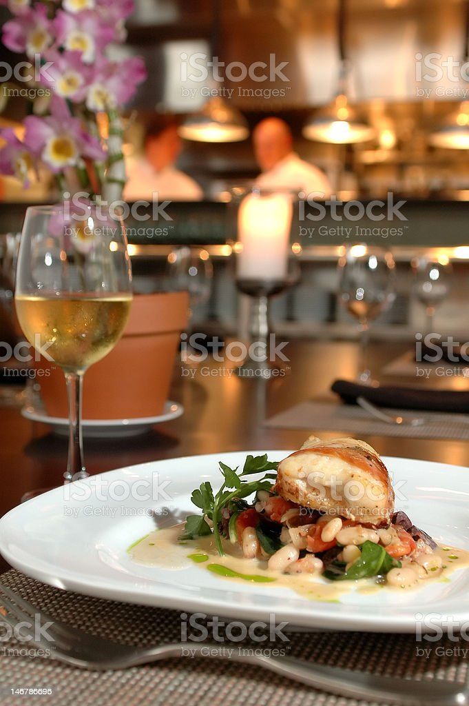 Baked halibut royalty-free stock photo