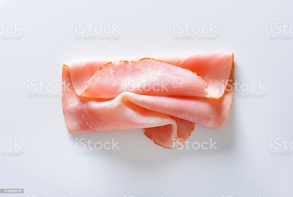 Baked ham slice stock photo