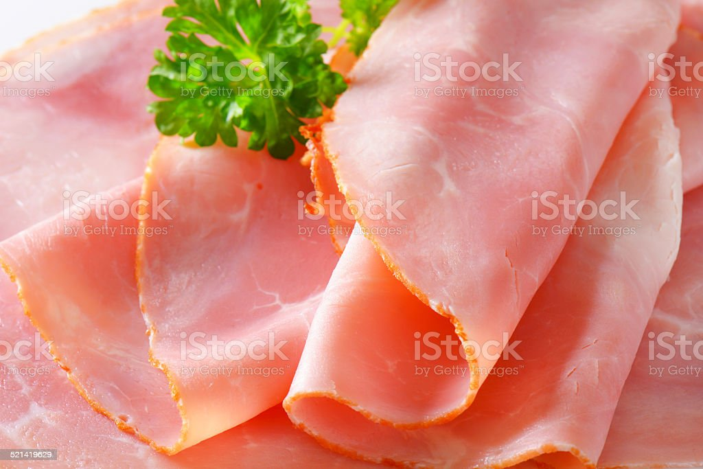 Baked ham slices stock photo
