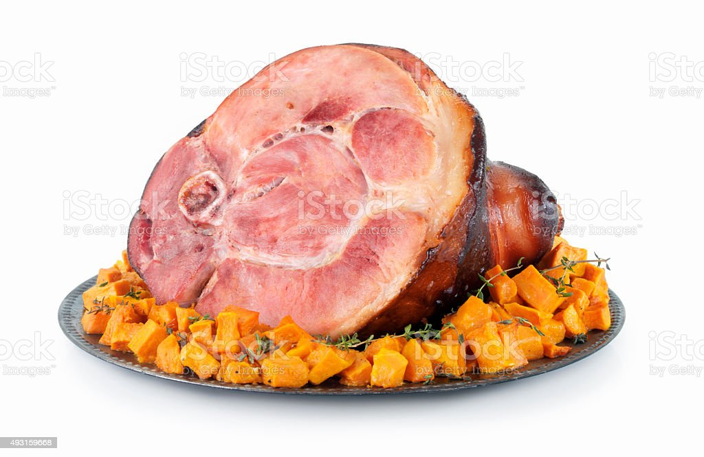 Baked Ham with Squash stock photo
