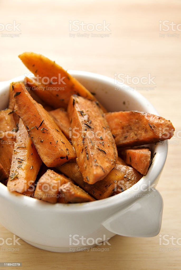 Baked Herbed Sweet Potato stock photo