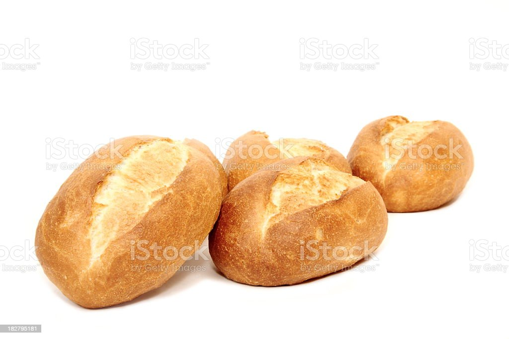 Baked hoagie rolls on white background royalty-free stock photo