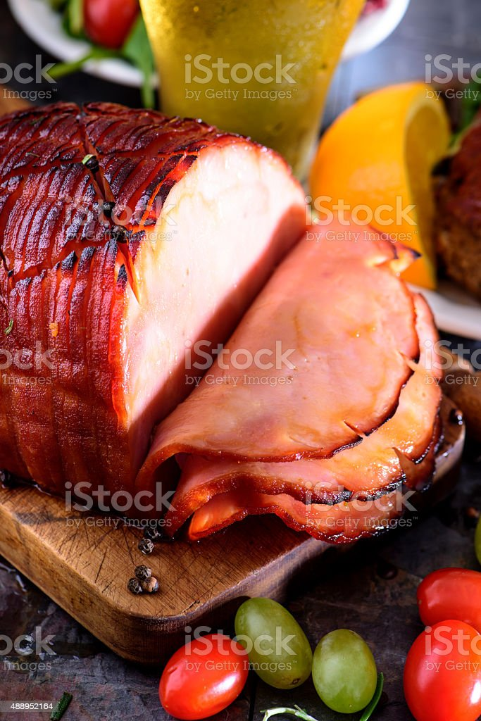 Baked Honey Glazed Ham stock photo