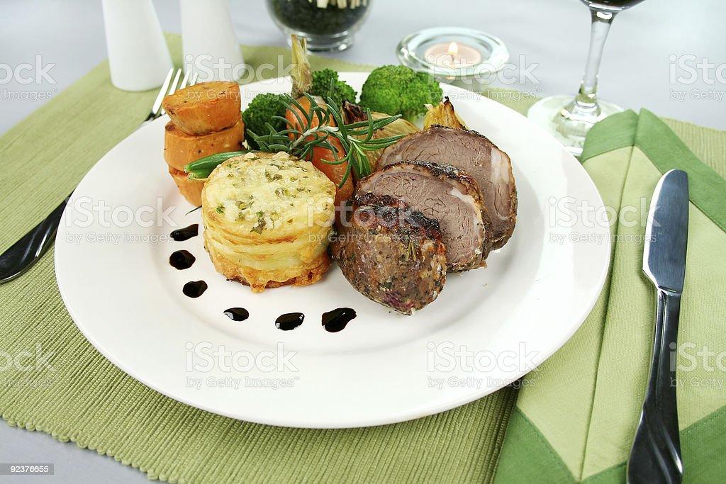Baked Lamb And Potato Stack royalty-free stock photo