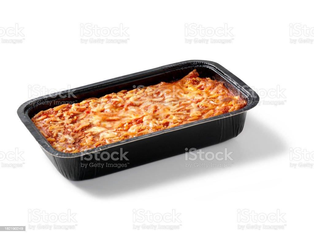 Baked Lasagna in Black Tray stock photo
