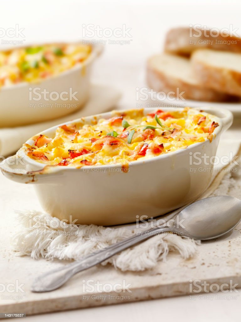 Baked Lobster Macaroni and Cheese stock photo