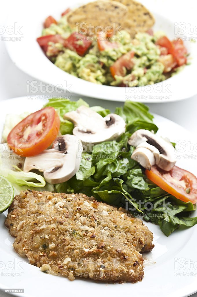 Baked Macadamia Crusted Fish Fillet stock photo