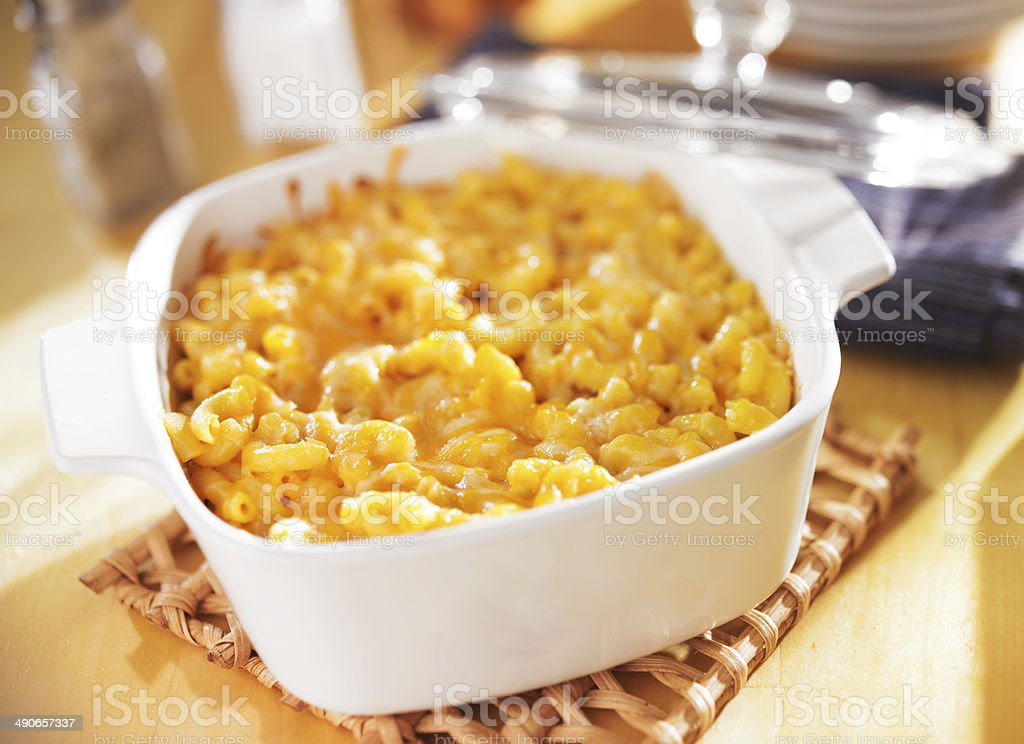 Baked Macaroni and Cheese in baking dish royalty-free stock photo