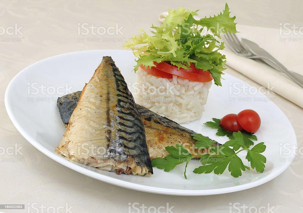 Baked mackerel royalty-free stock photo
