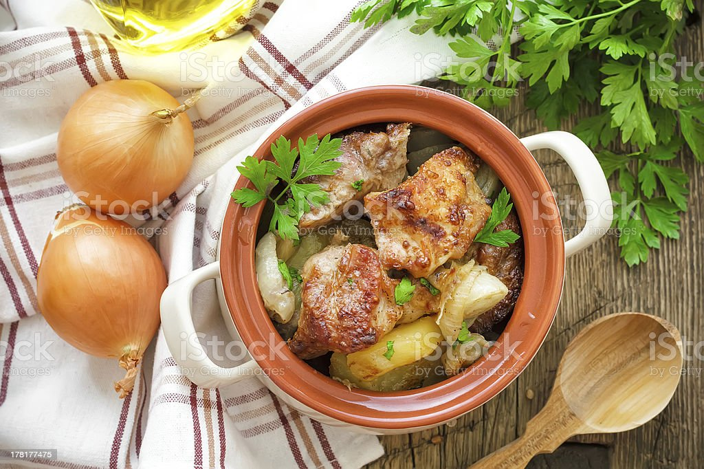 Baked meat with potato royalty-free stock photo